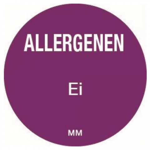 Allergie ei sticker rond 25 mm Daymark