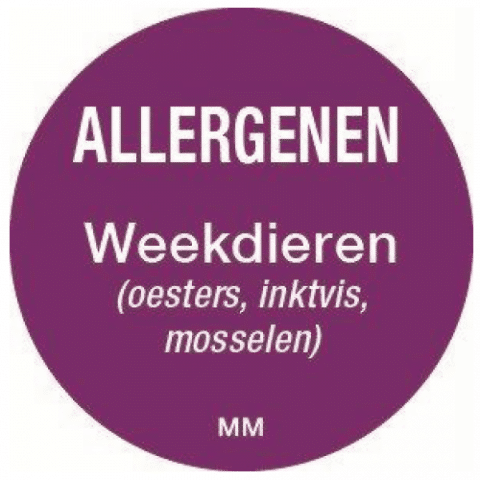 Allergie weekdieren sticker rond 25 mm Daymark