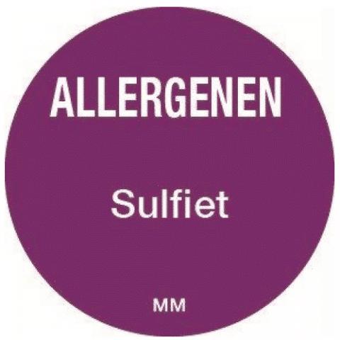 Allergie sulfiet sticker rond 25 mm Daymark