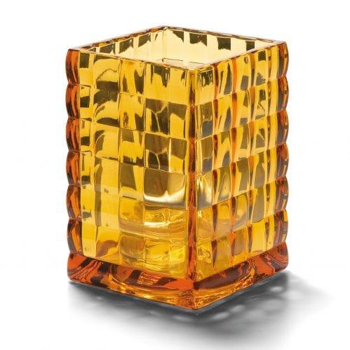 Vierkante glashouder amber trans. 6,5 x 9,5 cm (Set van 12)