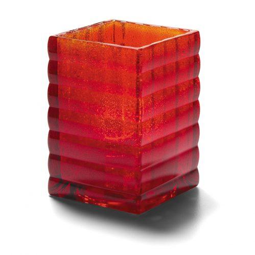 Vierkante glashouder robijnrood mat 6,5 x 9,5 cm (Set van 12)