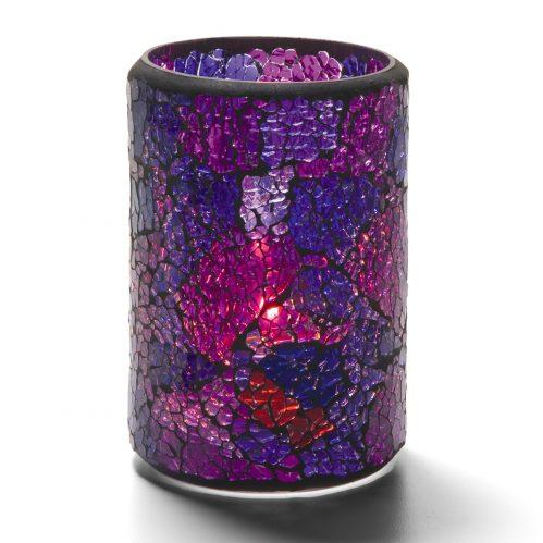 Cilinderlamp gebarsten blauw/paars 7,9 x 11,4 cm (Set van 12)
