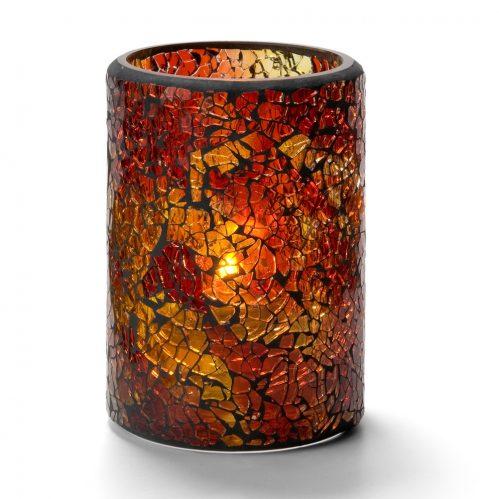 Cilinderlamp gebarsten glas goud 7,9 x 11,4 cm (Set van 12)