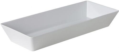 Rechthoekige bak smal wit 50 x 20 x 7,5 cm (Set van 3)