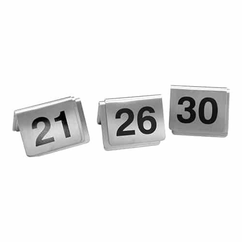 Tafelnummers Set 21-30 Rvs