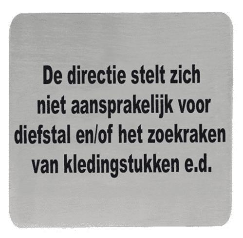 Tekstplaatje Q De Directie…