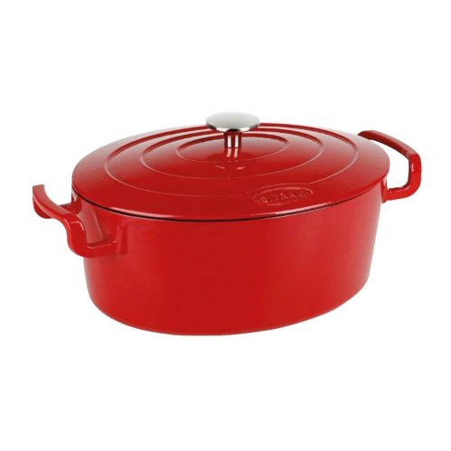 Cocotte ovaal rood 6,5L 31×24 cm