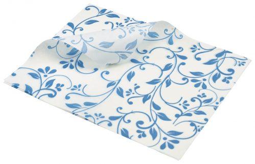Vetvrij papier blauw bloemen 25 x 20cm 1000st