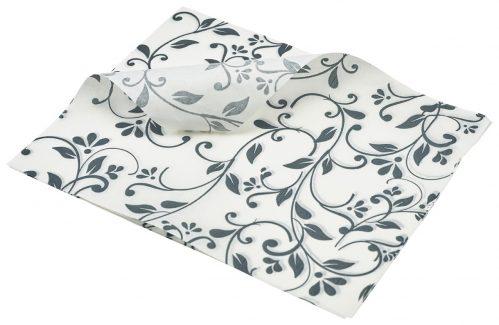 Vetvrij papier grijs bloemen 25 x 20cm 1000st