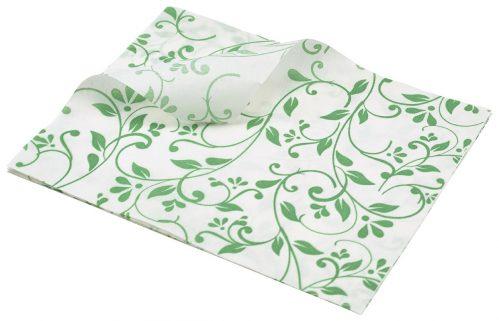 Vetvrij papier groen bloemen 25 x 20cm 1000st