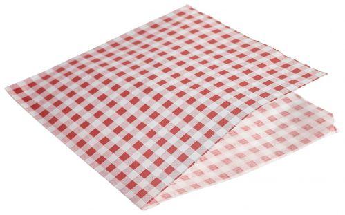 Vetvrij papier rood geblokt puntzak 17,5cm 1000st
