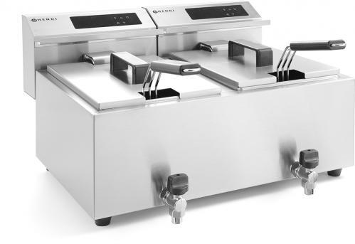 Friteuse mastercook met aftapkraan digitaal – 2 x 8 Liter