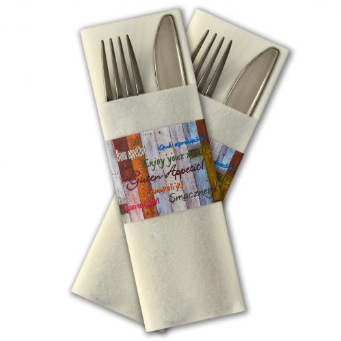 """Servet insteek / Gastrosleeve Airlaid – Wit """"Buon appetito"""" (Set van 300 Stuks)"""