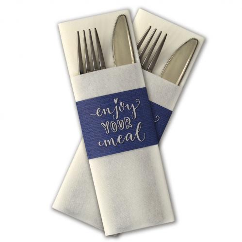 "Servet insteek / Gastrosleeve Airlaid – Wit ""Enjoy your meal"" (Set van 300 Stuks)"