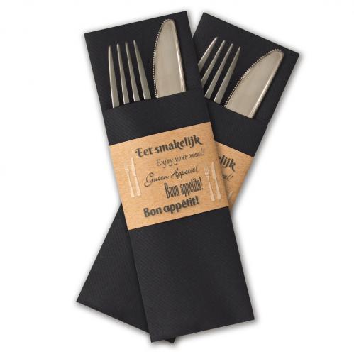 """Servet insteek / Gastrosleeve Airlaid – Zwart """"Eet smakenlijk"""" (Set van 300 Stuks)"""