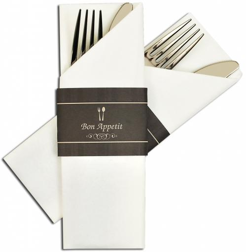 Servet insteek / Napkin Sleeve Airlaid – Wit/Zwart (Set van 300 Stuks)