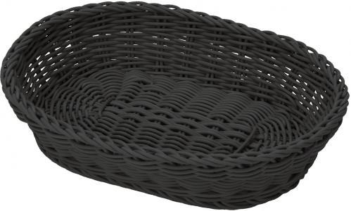 Mand 32x23x7 cm ovaal zwart (Set van 3)