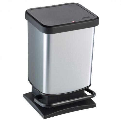Afvalbak 20 liter rechthoekig rvs/zwart Paso