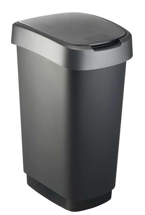 Twist Afvalbak 50 liter rechthoekig zilver/zwart