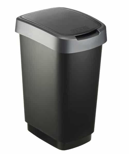 Twist Afvalbak 25 liter rechthoekig zilver/zwart