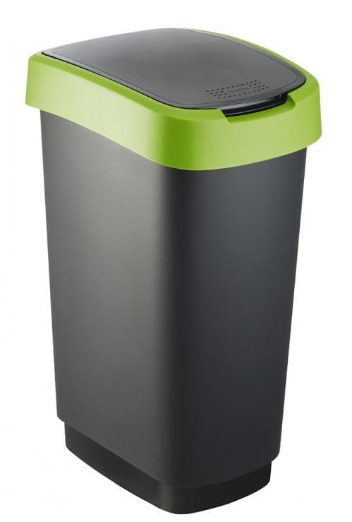 Twist Afvalbak 50 liter zwart/groen (Set van 3)