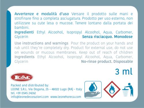 Handgel Desinfectie 3 ml (Set van 500 Stuks)
