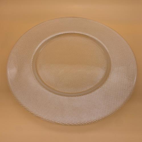Bord Plat Brede Rand Zilver /Glas 33 Cm